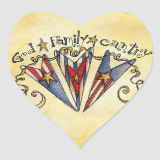 God Family Country America Heart Sticker