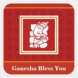 God Ganesha Design Square Sticker