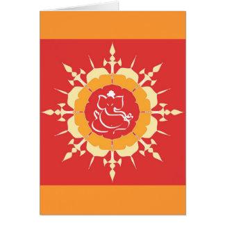 God Ganesha on red flower Card