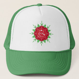 God Ganesha on red flower Trucker Hat