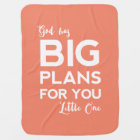 God Has Big Plans | Christian Baby Blanket - Coral