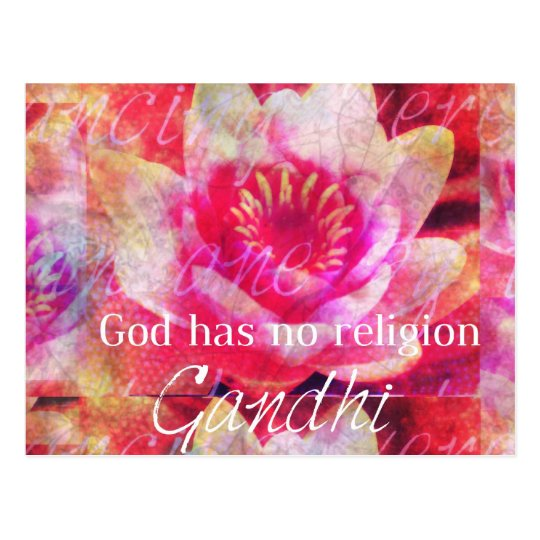 God has no religion - Gandhi quote Postcard