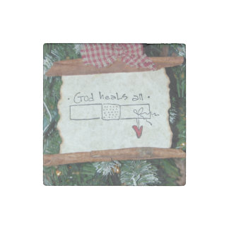 God Heals All Christmas Magnet Stone Magnets