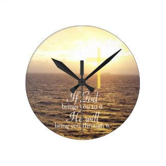 God & Holy Cross Round Clock