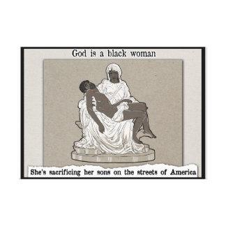 God is a black woman canvas print