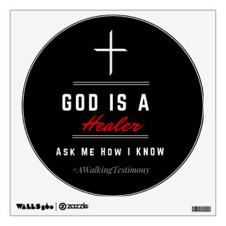 God Is A Healer - Wall Decal Red/Black