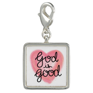 God is Good Hand Lettered Pink Watercolor Heart Charm