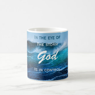 God is in Control Ocean Storm Mug