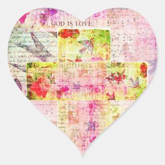GOD IS LOVE contemporary Christian art Heart Sticker
