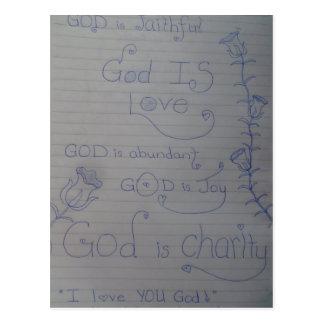 GOD is LOVE doodle notepad art Postcard