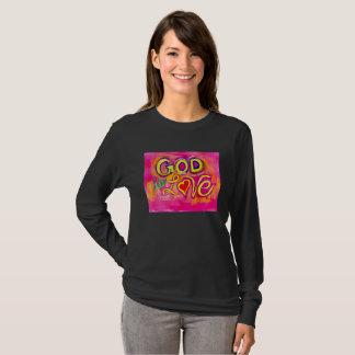 God is Love hot pink long sleeve women's t-shirt