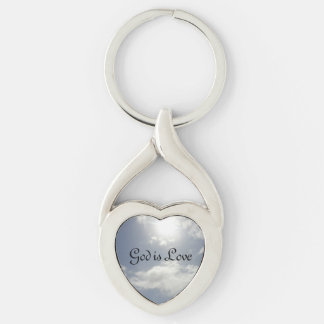God is Love Silver-Colored Twisted Heart Keychain