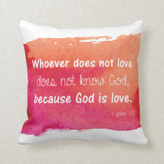 God is Love Watercolor Paint Bible Verse Throw Pillow