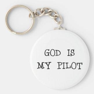 God Is My Pilot Keychain