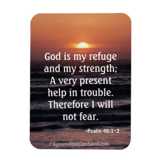 God is my refuge and my strength Bible Quote Magnet