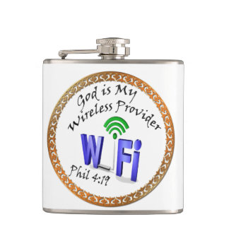 God is My Wireless Provider Phil 4:19 Hip Flask