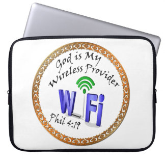 God is My Wireless Provider Phil 4:19 Laptop Sleeve