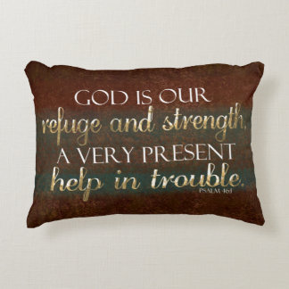 God is our Refuge Christian Bible Verse Brown/Gold Decorative Pillow
