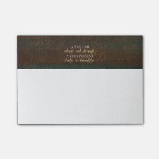God is our Refuge Christian Bible Verse Brown/Gold Post-it® Notes