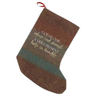God is our Refuge Christian Bible Verse Brown/Gold Small Christmas Stocking