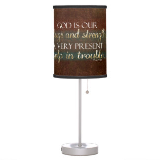 God is our Refuge Christian Bible Verse Brown/Gold Table Lamp