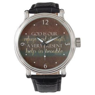 God is our Refuge Christian Bible Verse Brown/Gold Watch