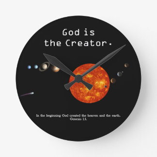 God Is The Creator Solar System - Wall Clock