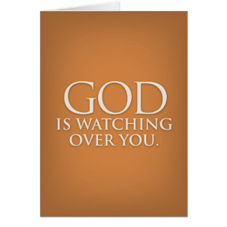 God is Watching Over You. Gold greeting card. Card