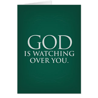 God is Watching Over You. Green greeting card. Card