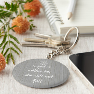 God is Within Her, She Will Not Fall Bible Verse Keychain