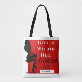 God Is Within Her Tote Red/Blk/White