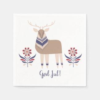 God Jul Deer and Flowers Nordic Design Christmas   Disposable Napkins