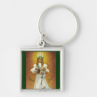 God Jul!  Lucia Child with Treats Silver-Colored Square Keychain