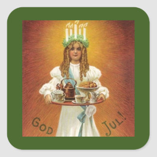 God Jul! Lucia with treats Square Sticker