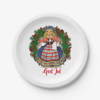 God Jul Merry Christmas Swedish Retro Doll Paper Plate