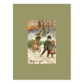 """God Jul!"" or Tiny Children in the Snow Postcard"