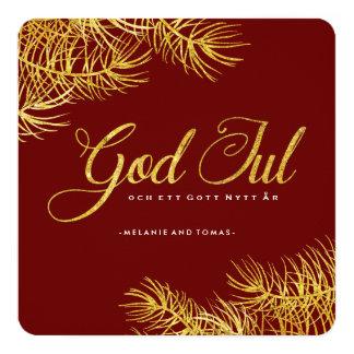 "God Jul Photo Cards 5.25"" Square Invitation Card"