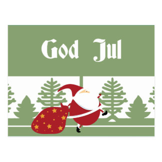 God Jul Santa Postcard