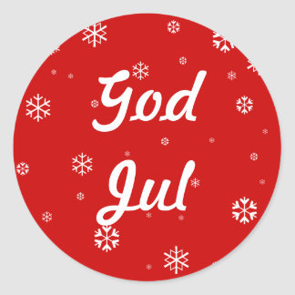 God Jul Snowflakes Classic Round Sticker