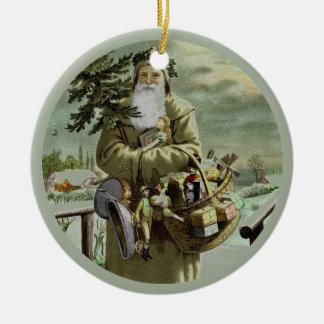 God Jul Swedish Santa Ceramic Ornament