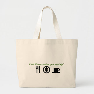 god knows when you dont tip large tote bag