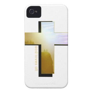God Loves all Cross iPhone 4 Case-Mate Case