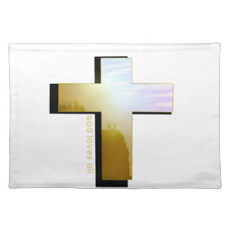 God Loves all Cross Placemat