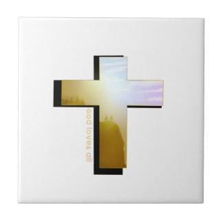 God Loves all Cross Tile