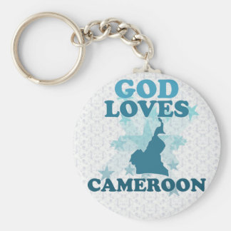 God Loves Cameroon Basic Round Button Keychain