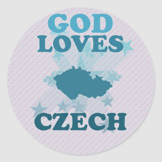 God Loves Czech Classic Round Sticker