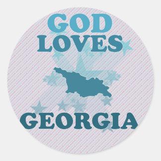 God Loves Georgia Round Sticker