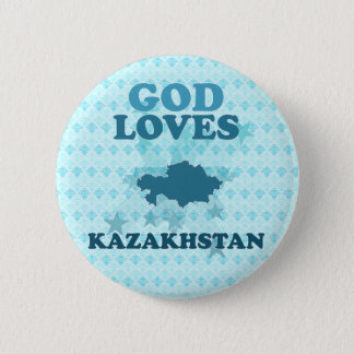God Loves Kazakhstan 2 Inch Round Button
