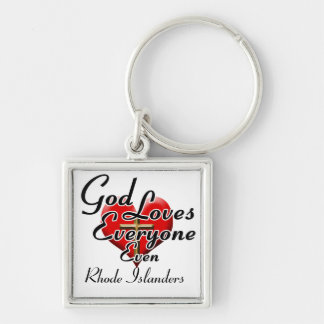 God Loves Rhode Islanders Silver-Colored Square Keychain