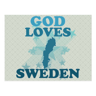 God Loves Sweden Postcard